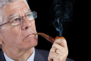 senior businessman smoking