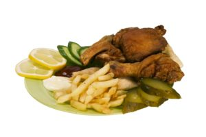 Chiken fast food isolated with clipping path